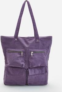 Fioletowa torebka Reserved na ramię duża w stylu casual