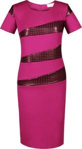 Sukienka Fokus z okrągłym dekoltem ze skóry ekologicznej ołówkowa