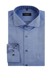 Niebieska koszula Eterna z klasycznym kołnierzykiem z długim rękawem z bawełny