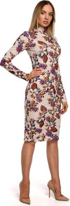 Sukienka MOE z okrągłym dekoltem midi dopasowana