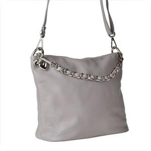 Genuine leather torebka skórzana popielata z łańcuszkiem m