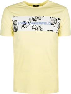 Żółty t-shirt Karl Lagerfeld w młodzieżowym stylu