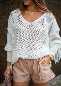 Sweter Fason w stylu boho z wełny