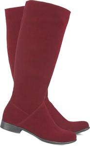 Czerwone kozaki Lafemmeshoes ze skóry w stylu casual przed kolano