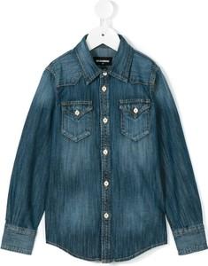 Niebieska koszula dziecięca Dsquared2 Kids dla dziewczynek z jeansu