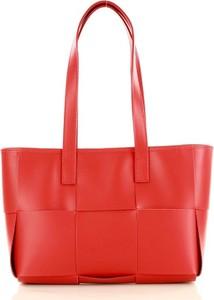 Czerwona torebka GENUINE LEATHER w stylu glamour