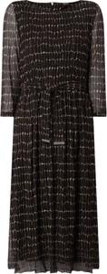 Sukienka S.Oliver Black Label midi z długim rękawem z okrągłym dekoltem