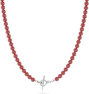 GIORRE Długi naszyjnik z pereł do podwieszania charmsów, srebro 925 : Kolor pokrycia srebra - Platyną, Perła - SWAROVSKI RED CORAL