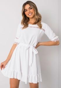 Sukienka Sheandher.pl z długim rękawem mini z okrągłym dekoltem
