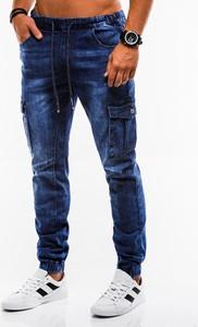 Niebieskie spodnie Edoti z jeansu