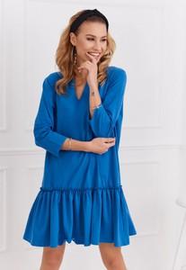 Sukienka Fasardi z długim rękawem mini z bawełny