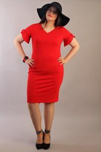 Czerwona sukienka Oscar Fashion ołówkowa z krótkim rękawem