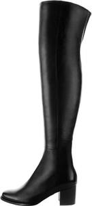 Czarne kozaki Prima Moda za kolano ze skóry