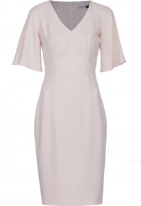 Różowa sukienka VISSAVI z krótkim rękawem midi