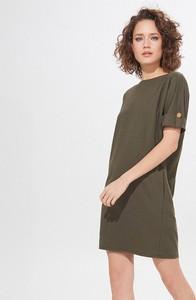 Zielona sukienka Mohito prosta z krótkim rękawem