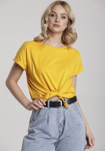 Żółty t-shirt Renee w stylu casual z krótkim rękawem