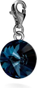 GIORRE SREBRNY CHARMS KRYSZTAŁ SWAROVSKI RIVOLI 12MM 925 : Kolor kryształu SWAROVSKI - Montana, Kolor pokrycia srebra - Pokrycie Czarnym Rodem