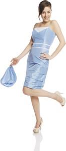 Niebieska sukienka Fokus midi gorsetowa