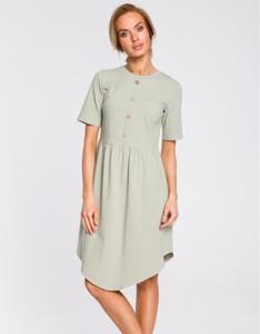 Zielona sukienka MOE z krótkim rękawem w stylu casual