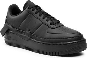 Czarne buty sportowe Nike sznurowane na platformie ze skóry