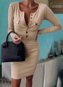 Sukienka Cikelly ołówkowa z długim rękawem mini