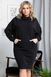 Czarna sukienka KARKO mini oversize z bawełny