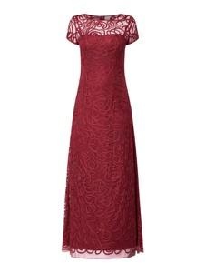 Czerwona sukienka Niente maxi z krótkim rękawem z okrągłym dekoltem
