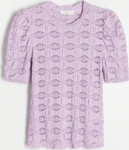 Bluzka Reserved w stylu casual z tkaniny z okrągłym dekoltem