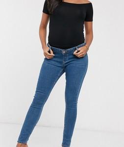 ASOS DESIGN Maternity Ridley – Niebieskie jeansy o obcisłym kroju z wysokim stanem i wstawką załaniającą brzuch