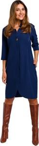 Niebieska sukienka Style midi z tkaniny z kołnierzykiem
