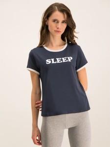 Granatowy t-shirt Tommy Hilfiger z okrągłym dekoltem w stylu casual z krótkim rękawem