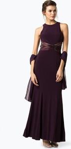 Fioletowa sukienka Luxuar Fashion dopasowana