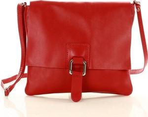 Czerwona torebka GENUINE LEATHER w stylu glamour na ramię