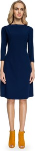 Niebieska sukienka Stylove z długim rękawem z okrągłym dekoltem
