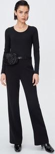 Czarna bluzka Sinsay z okrągłym dekoltem w stylu casual z długim rękawem
