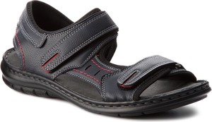 Czarne buty letnie męskie Lanetti ze skóry ekologicznej