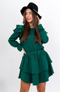 Zielona sukienka ZOiO.pl mini z długim rękawem z okrągłym dekoltem