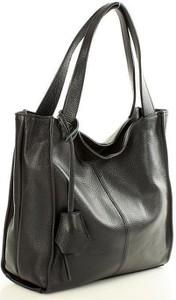 Czarna torebka MAZZINI w stylu glamour ze skóry