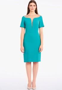 Sukienka Lavard z tkaniny z krótkim rękawem z dekoltem w kształcie litery v