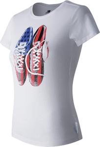 T-shirt New Balance z bawełny z krótkim rękawem z okrągłym dekoltem