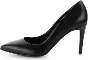 Czarne szpilki Prima Moda ze skóry