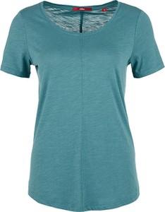 Turkusowy t-shirt S.Oliver w stylu casual z krótkim rękawem