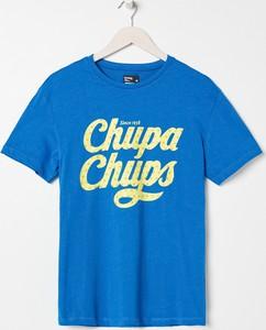 Niebieski t-shirt Sinsay z krótkim rękawem w młodzieżowym stylu