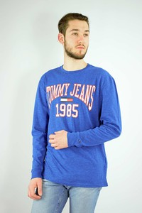 Niebieska koszulka z długim rękawem Tommy Hilfiger z długim rękawem z bawełny