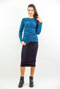 Turkusowa bluzka Byinsomnia w stylu casual z długim rękawem z bawełny