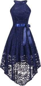 Sukienka Cikelly asymetryczna z okrągłym dekoltem midi