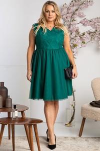 Zielona sukienka KARKO z krótkim rękawem mini z tiulu