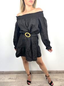 Czarna sukienka Juni z długim rękawem mini w stylu boho