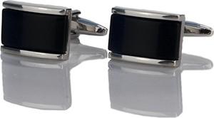 Em Men`s Accessories Spinki do mankietów klasyczne srebrne z granatowym oczkiem EM 11