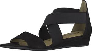 Czarne sandały Tamaris z płaską podeszwą ze skóry w stylu casual